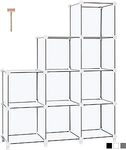 TomCare Cube Storage 9-Cube Book Shelf Storage Shelves Cube Organizer Closet Organizer Shelves Plastic Bookshelf Bookcase DIY Closet Cabinet Organizers Shelving for Bedroom Office Living Room, White