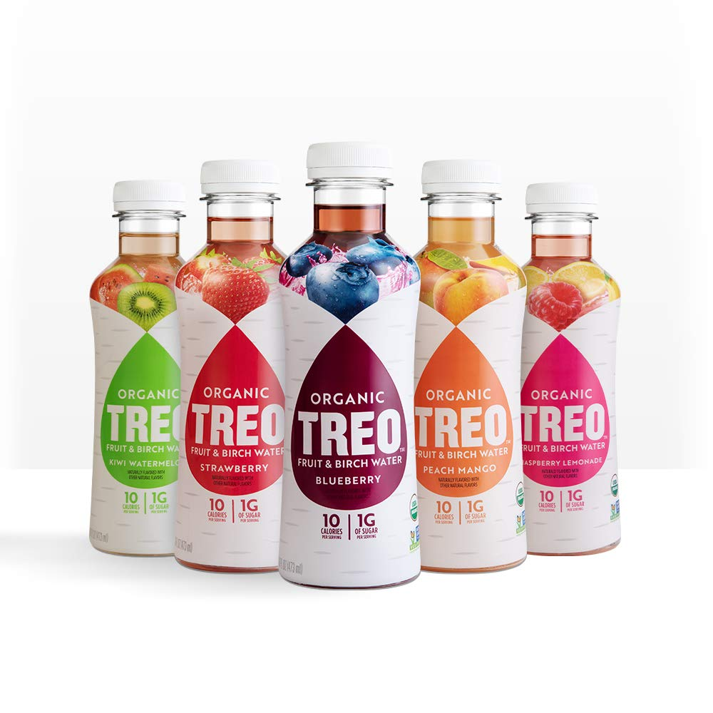 Treo Fruit & Birch Water Drink Variety Pack: Blueberry, Peach Mango, Strawberry, Kiwi Watermelon, Raspberry Lemonade (Pack of 12)
