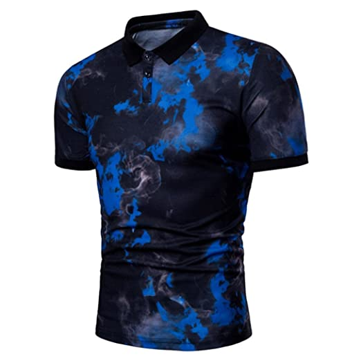 Tops & Tees Popular Fashion Red And Blue Flame-printed Short-sleeved Lapel Cotton Polo Shirt For Men Fashionable Patterns Polo
