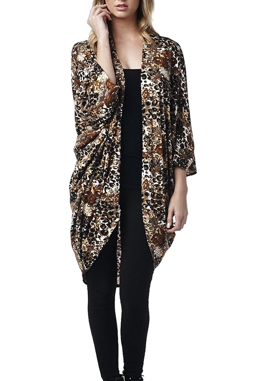 82 Days Women'S Poly Rayon Open Front High Low Kimono Style ...