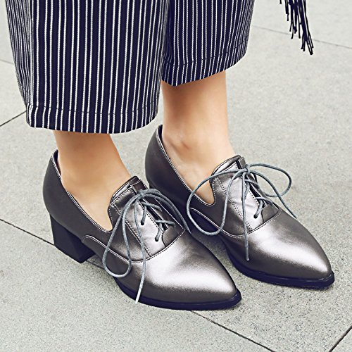 Shine Heel Taupe Mid Up Show Lacing Shoes Women's Casual Oxfords dxZTHq
