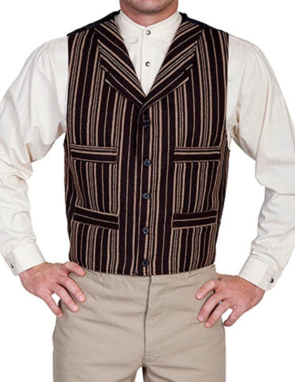 Men's Vintage Vests, Sweater Vests Wahmaker By Scully Mens Wahmaker Four Pocket Wool Blend Vest $79.85 AT vintagedancer.com