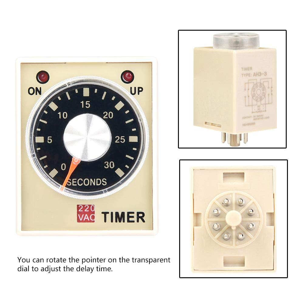 30S Time Relay,AH3-3 Power on Delay Timer Time Relay AC 220V 50//60Hz