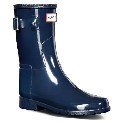 6cdda97c00e Hunter Womens Original Refined Short Gloss Snow Rain Boots - Navy - 10