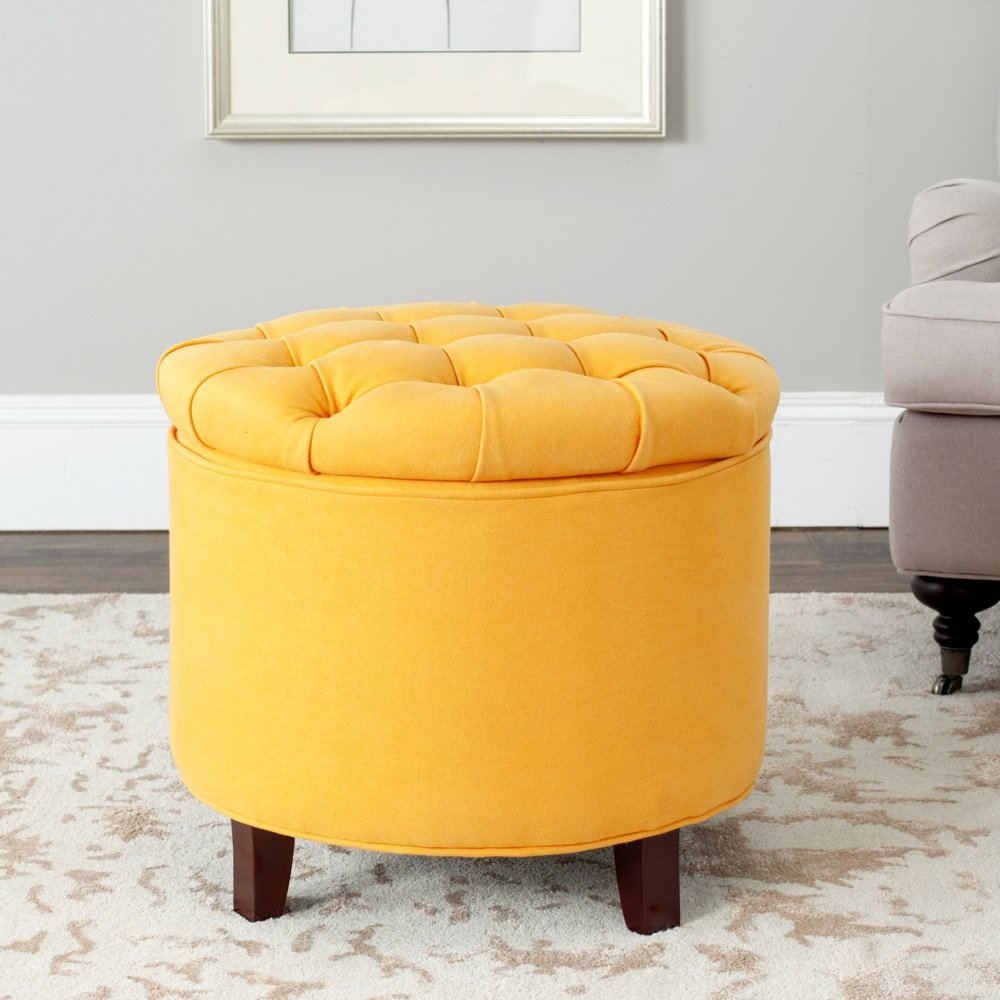 Merveilleux Amazon.com: Safavieh Amelia Tufted Storage Ottoman, Tangerine: Kitchen U0026  Dining