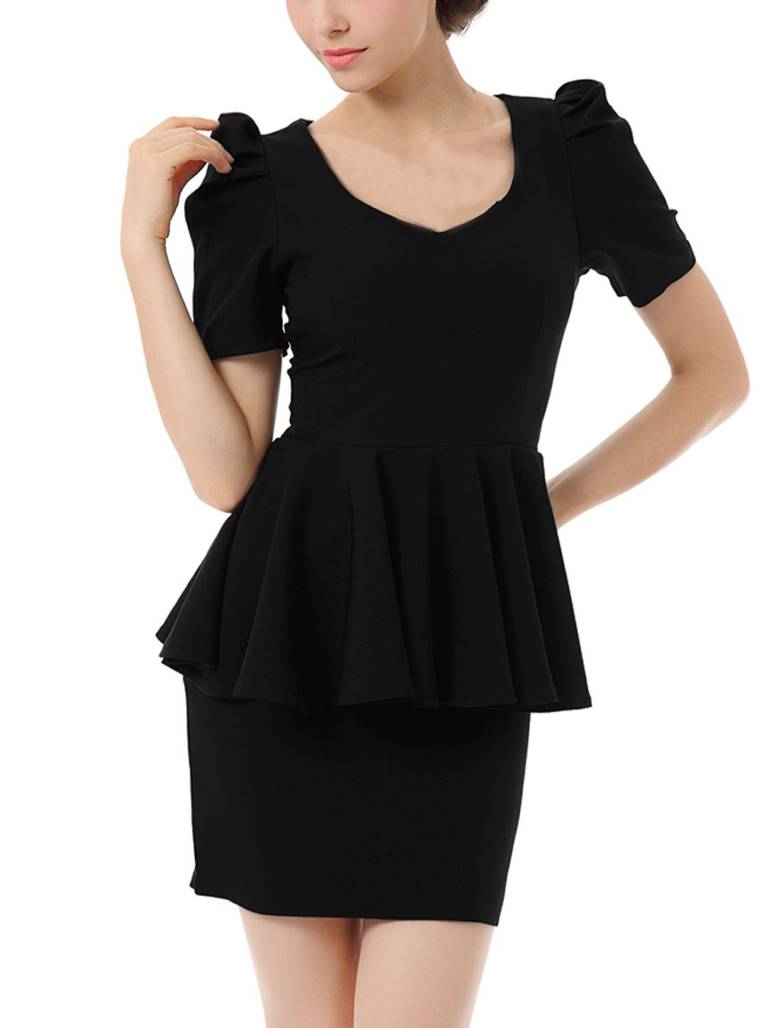 Allegra K Lady Peplum-style Frill Slim Trim Slim Fit Dress Black M
