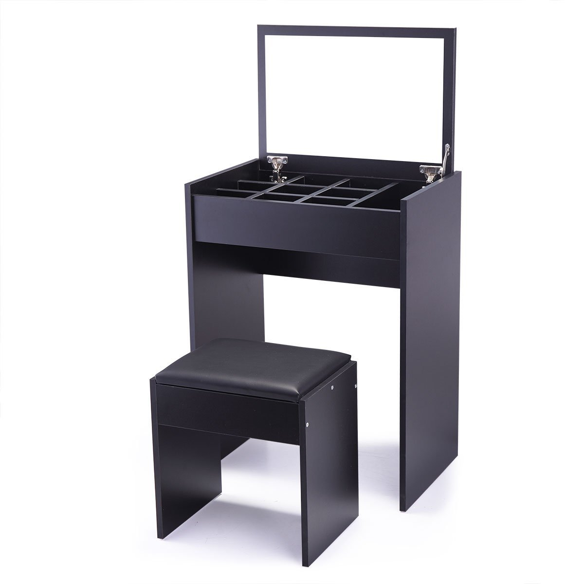 Tobbi Vanity Table and UpholsteredBench Set with Flip Top Mirror Drawer Jewelry Cabinet Black Finish
