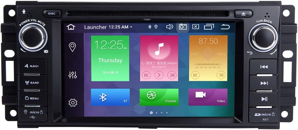 TOOPAI Android 9.0 Octa Core 4G RAM 128G ROM Car Multimedia Player for Dodge Ram Challenger Jeep Wrangler JK Single Din Head Unit Car Stereo Car GPS Radio DVD Player
