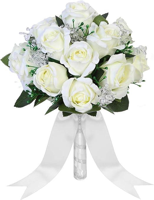Fashion Wedding Bride Bouquet Crystal Silk DIY wedding Flowers Party Decoration