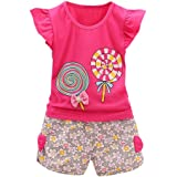 SHOBDW Girls Clothing Sets, 2PCS Toddler Kids Baby Girls Outfits Lolly T-Shirt Tops+Short Pants Clothes Set