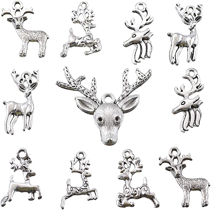 0139 1 x Deer Antler Antique Silver Tones Pendant Charms