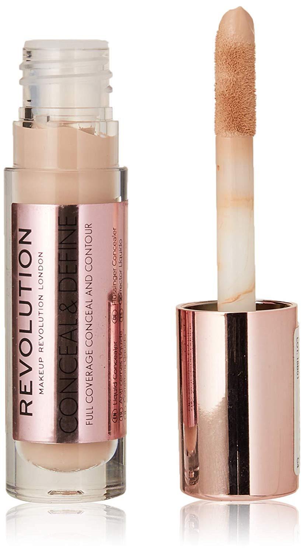 Makeup Revolution Conceal and Define Full Coverage Concealer Light Skin Tones with a Pink Undertone C4, Under Eye Concealer Makeup for all Skin Types, Best Concealer for Contouring