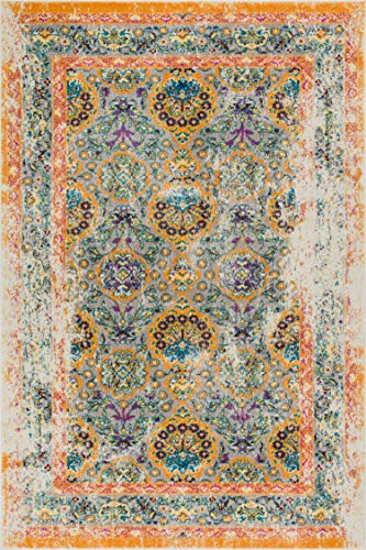 (Well Woven Modern Weave Bright Distressed Traditional Vintage Persian Floral Orange Beige Blue 8x10 (7'10