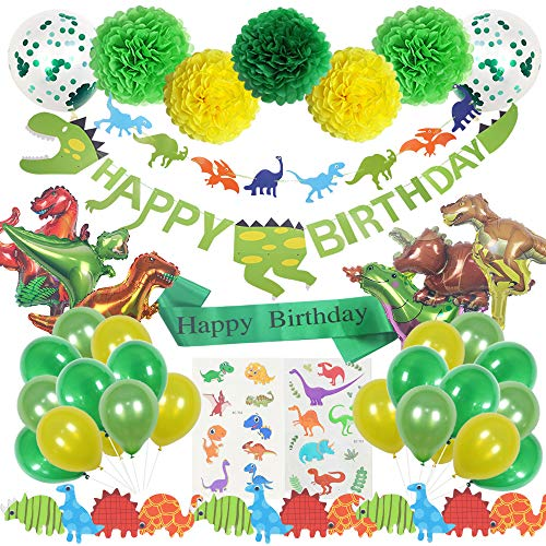 Dinosaur Party Supplies | 72 pcs for Birthday Decorations | Pre-Assembled Banner | Dino Party Pack Favors, Stickers, Inflatable Balloons and Tattoos. Perfect for Kids Jurassic World Theme - Pack Party Dinosaur
