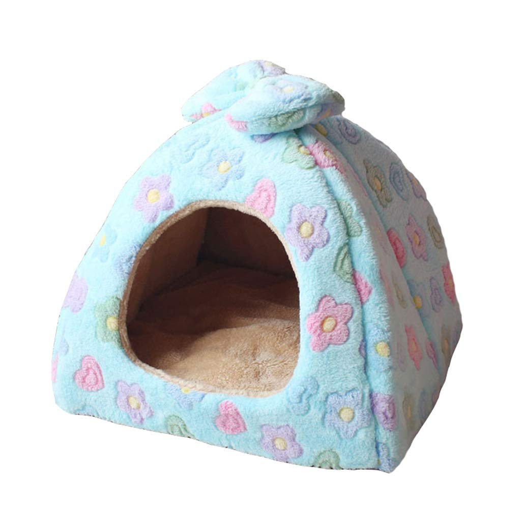 Small Pet Bed Yurt Cat Litter Small and Medium-Sized Dog Teddy Dog House Four Seasons Winter and Summer Dual-use Foldable Flower (Size   Small)