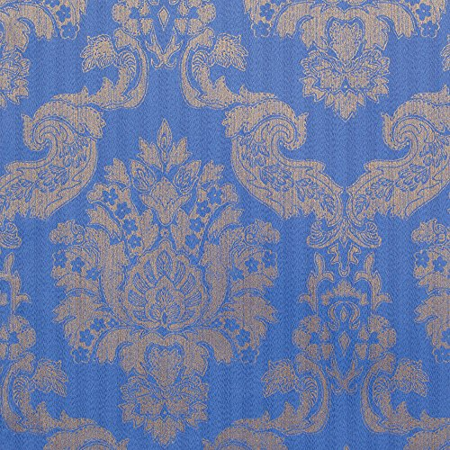 Louis Blue/Gold Foil Damask Vinyl Wallpaper For Walls - Double Roll - By Romosa Wallcoverings