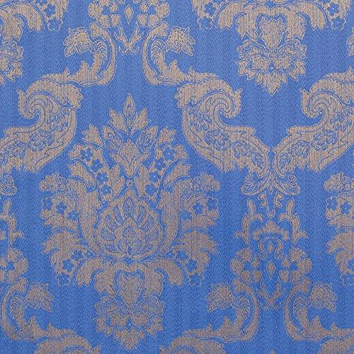 (Romosa Wallcoverings 1245318 Louis Damask Wallpaper, Blue/Gold)