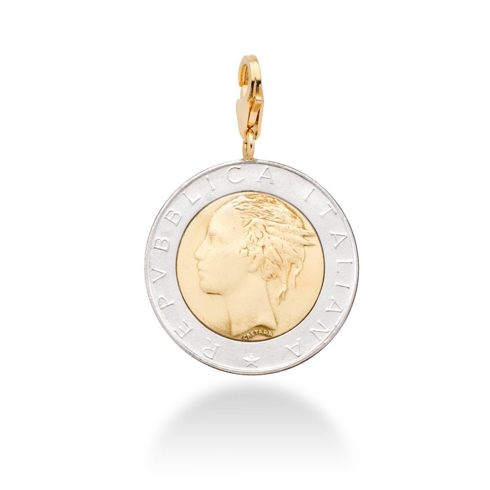 MiaBella Genuine Italian 500 Lira Coin Charm in I8K Gold Over Sterling Silver by MiaBella (Image #1)