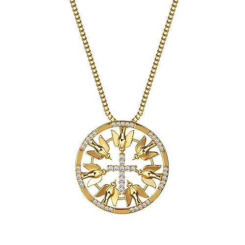 Round Peace Dove Cross Pendant Necklace 18K Gold / Platinum Plated Cubic Zirconia Charm Necklace for Women V6jaot