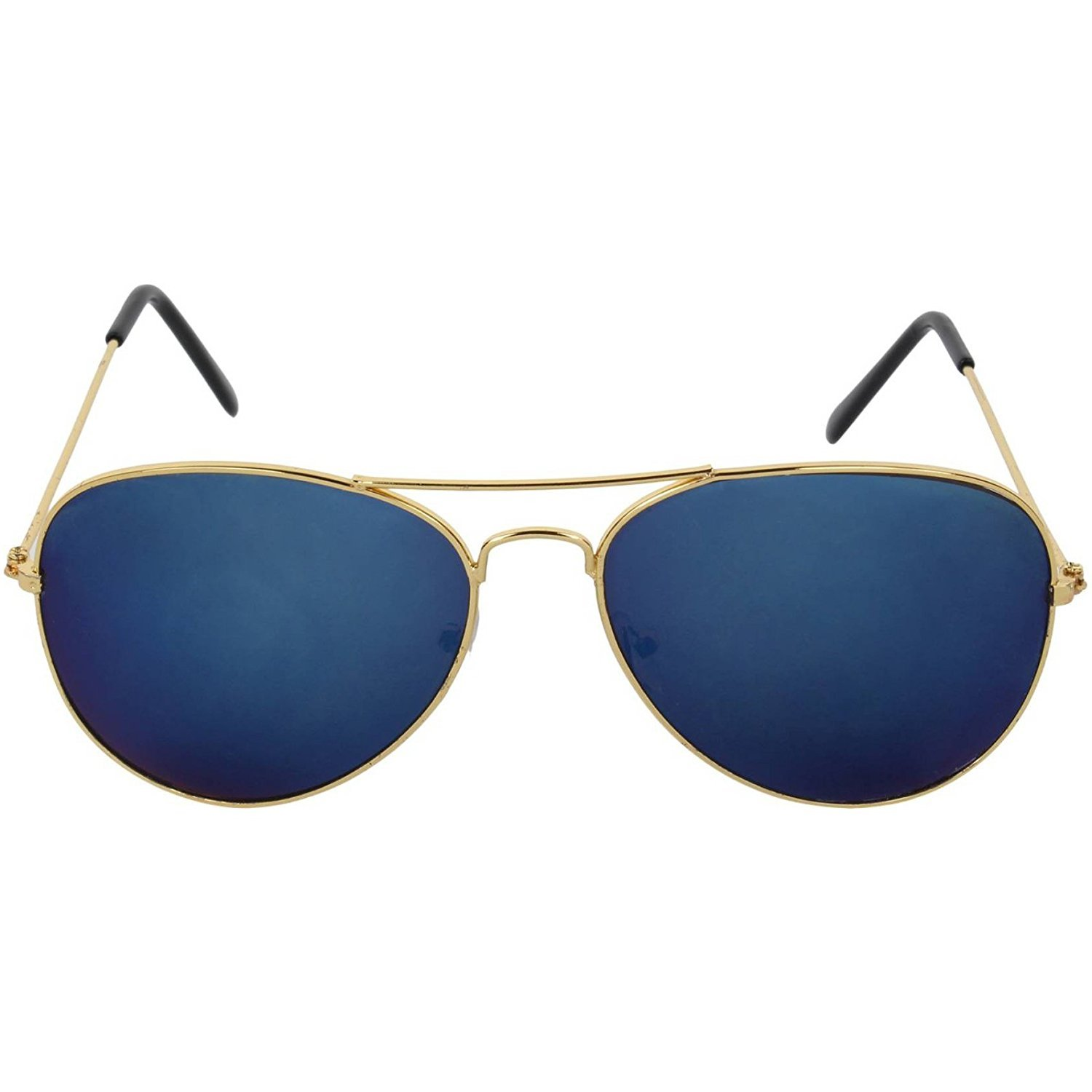ffd4aa1b7f5 Dervin Blue Lens Golden Frame Aviator Sunglasses for Men and Women  Amazon. in  Clothing   Accessories