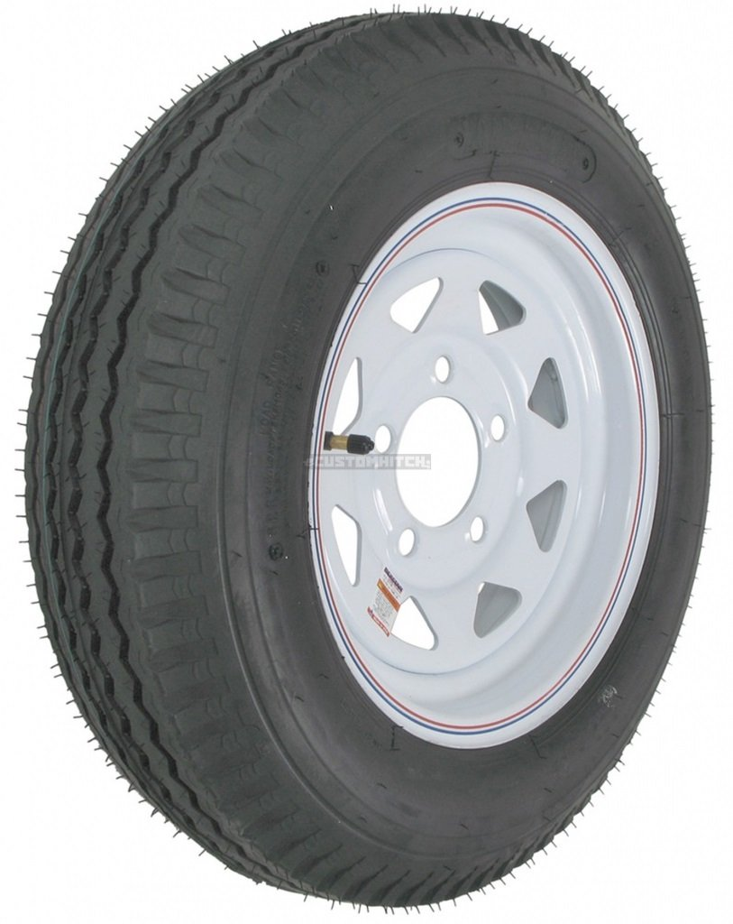2-Pack Kenda Trailer Tire On Rim #5237 530-12 5.30-12 Bias 5Hole White Spoke w/Stripe