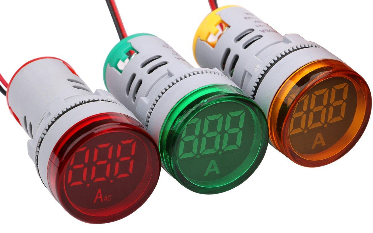 Digital Mini LED Ammeter, Yeeco AC 0-100A Digital Amperage Tester Meter Ampere Monitor 3pcs Green Red Yellow LED Signal Indicator Light Panel