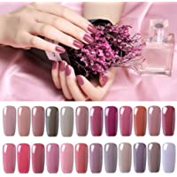 Clavuz 24pcs Kit de Esmaltes de Uñas Gel UV LED Semipermanente Serie de Nude Color Top Coat Base Coat Manicura y Pedicura