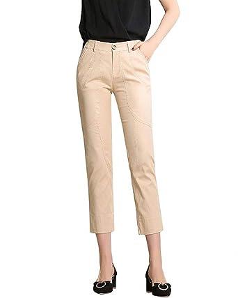 Printemps Eté Pantalon Droit avec Poches avec Fermeture Éclair Élastique Taille  Haute Fille Vêtements Mince Slim Fit Longues Pantalon en Tissu Pantalon De  ... 7c5083dec8b0