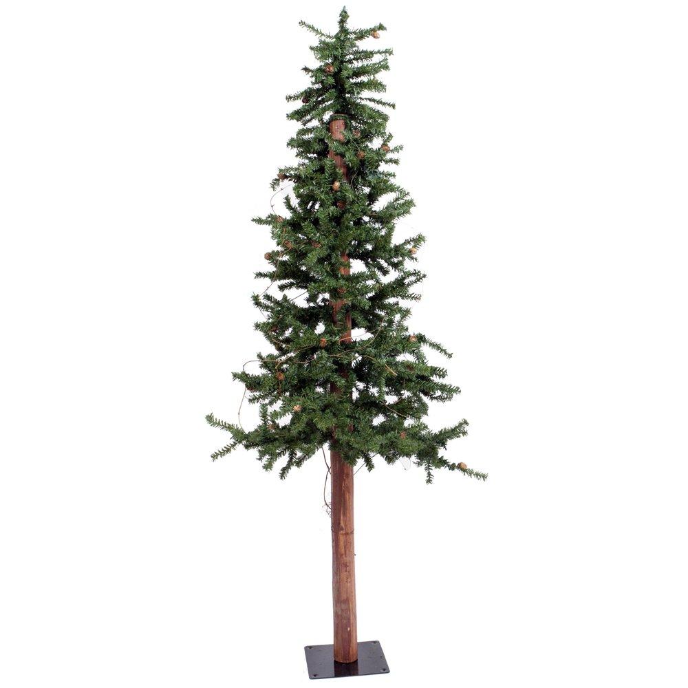 Vickerman 6' Unlit Alpine Artificial Christmas Tree with Cones and Vines