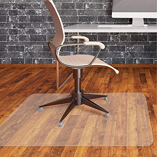 Office Chair Mat for Hardwood Floor by Somolux Computer Desk Swivel PVC Plastic Mat Clear Oversized and Rolling Delivery, Protect Hard Flooring in Home and Office 48 x 36 inches Rectangle by SOMOLUX