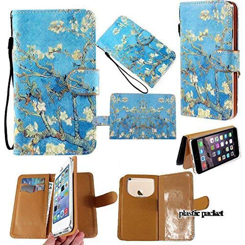(Universal PU Leather Strap Case/Purse/Clutch Fits Apple Samsung LG etc. Plum Blossom Under Blue Sky -Small. Magic Sticker Attaches Phone to Wallet. Strong Adhesive/Easy Remove. Fits Models Below:)
