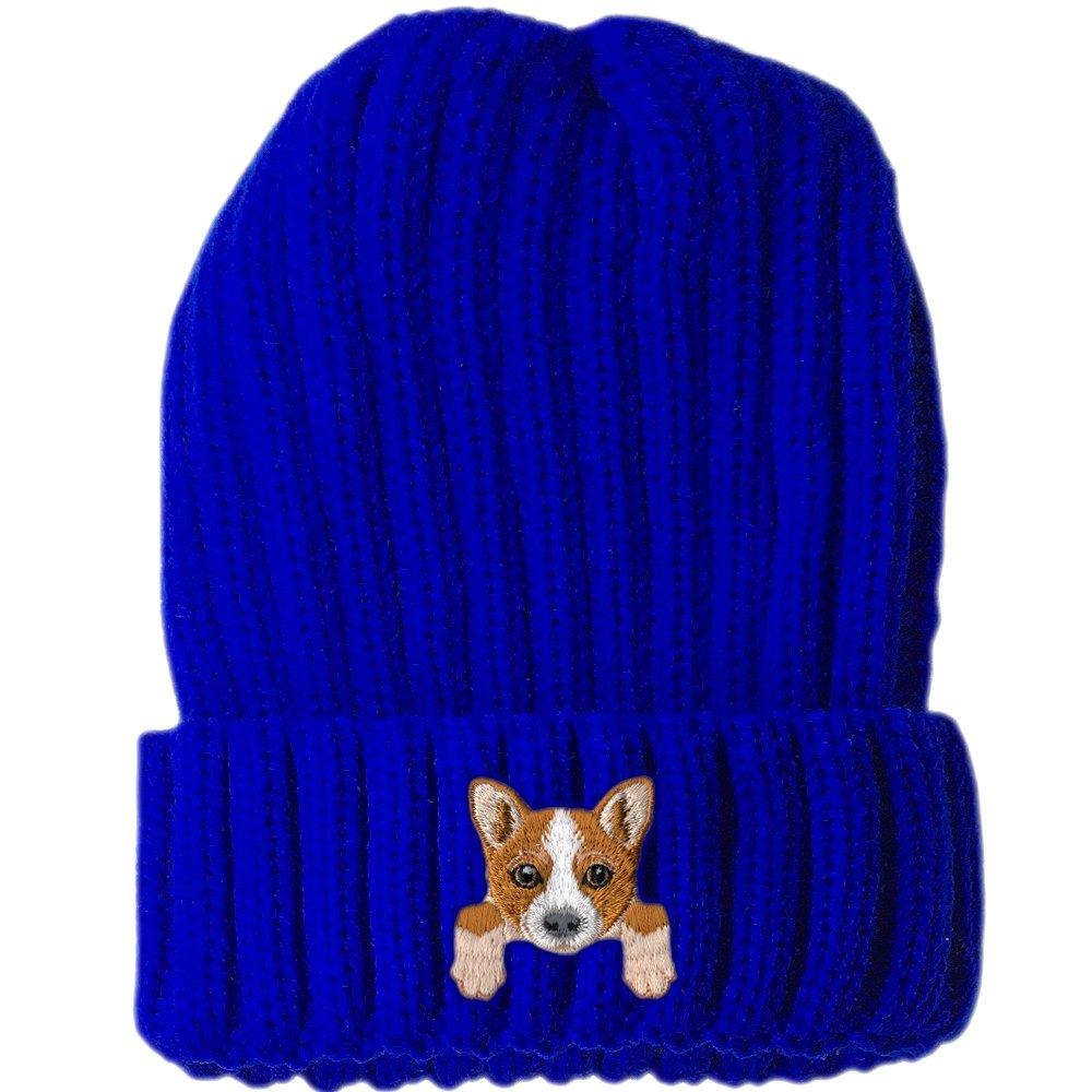 Cute Embroidered Puppy Dog Warm Knit Fleece Winter Beanie Skull Cap Welsh Corgi
