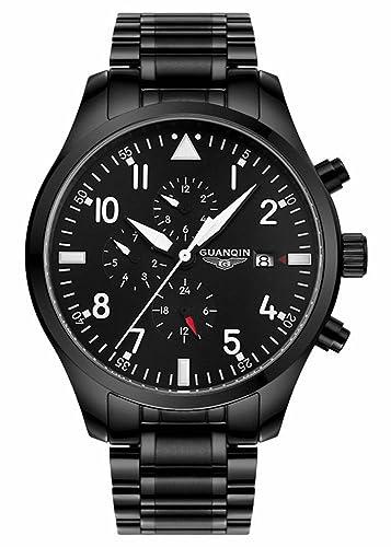 Gosasa Hombres Ejército Relojes deporte Militar de acero completo luminoso reloj de pulsera Hombres Negro Movimiento Mecánico Automático: Amazon.es: Relojes