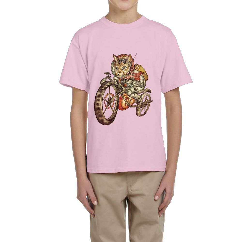 Fzjy Wnx Funny Cat Riding A Bike Youth Crewneck Short-Sleeve Of Shirt For Boys