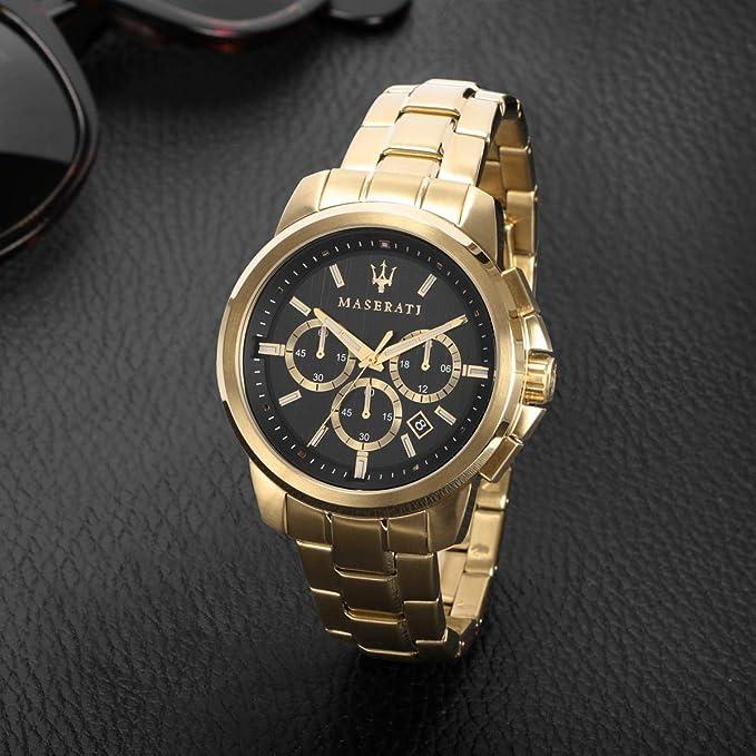 Orologio da uomo Maserati, collezione successo, cronografo, in acciaio e pvd oro giallo 8033288857730