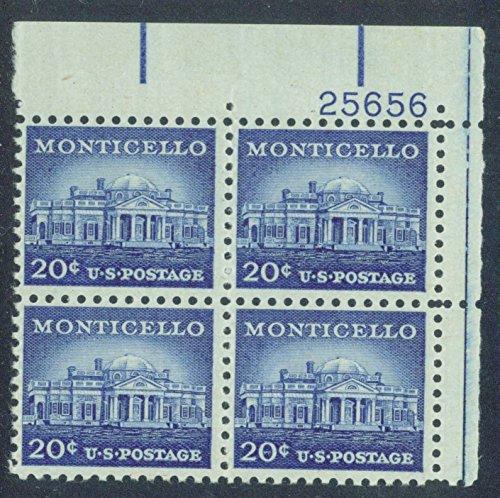 (Monticello 20-cent Plate Block Scott 1047 Liberty Series of 1954 Thomas Jefferson's Home )