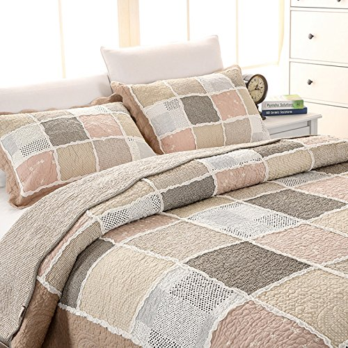 Brandream Queen Size Vintage Patchwork Bedding Set Elegant Cotton Quilt Set