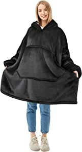 Oversized Blanket Sweatshirt, Super Soft Warm Comfortable Sherpa Hoodie for Adults & Children, Reversible, Hood & Large Pocket, One Size