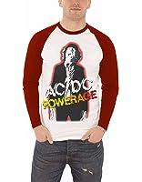 AC/DC T Shirt Herren Powerage Weiß band logo Nue offiziell Baseball T shirt