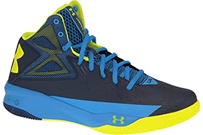 Under Armour Men s Rocket Basketball Shoes Midnight Navy Electric Blue Yellow  Ray Size 10 31987aa24