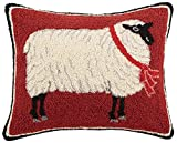 Peking Handicraft Sheep Hook Wool Lumbar Pillow, Red