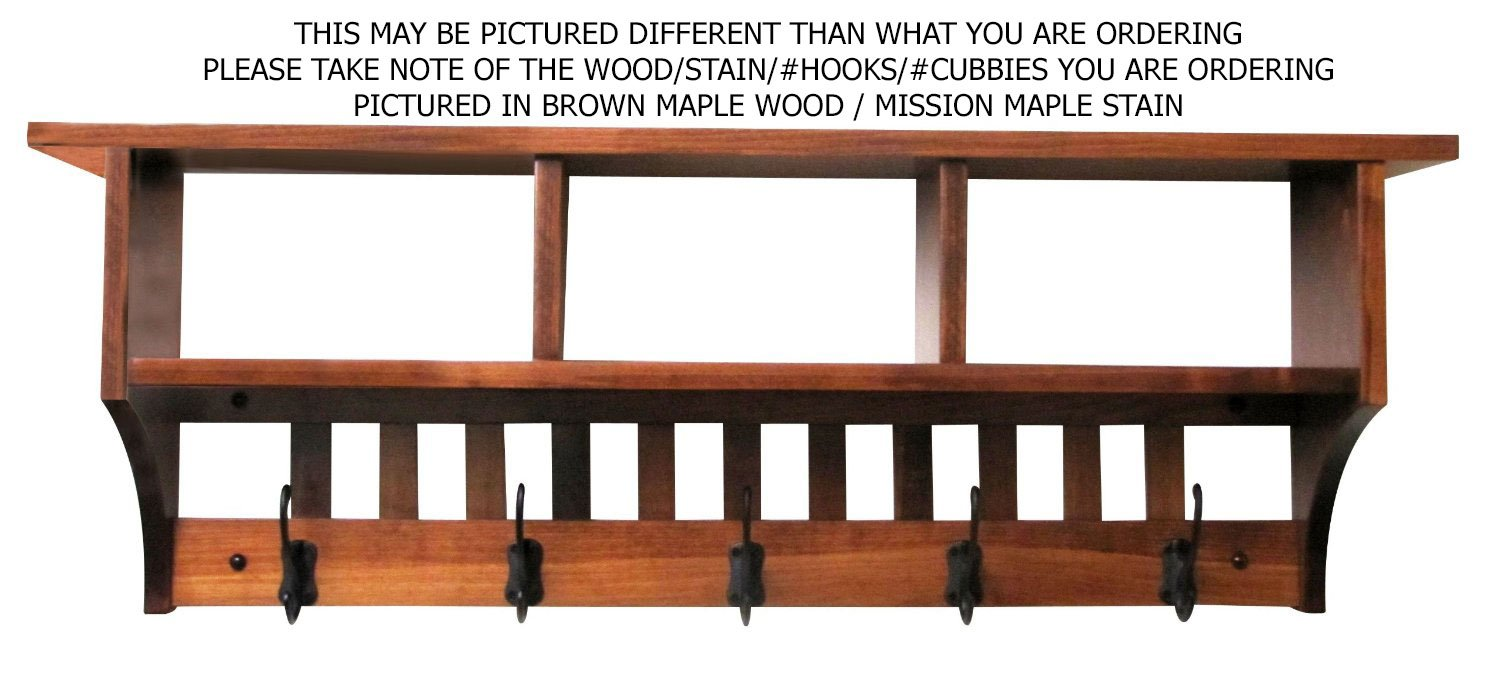 Mission Cubby Coat Rack Shelf Wall Mounted – Custom Available - 5 Hook, Oak Wood, Contact us with your stain or paint choice