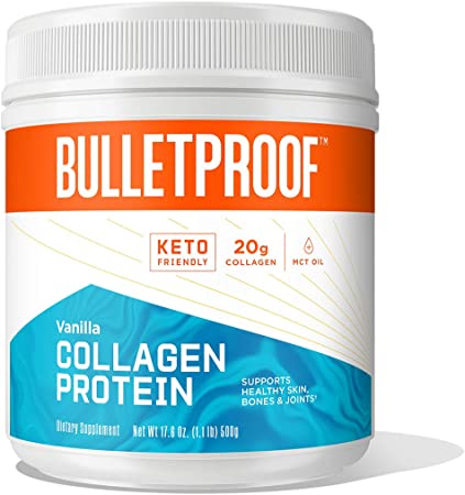 Vanilla Collagen Protein Powder with MCT Oil, 19g Protein, 17.6 Oz, Bulletproof Collagen Peptides and Amino Acids for Healthy Skin, Bones and Joints