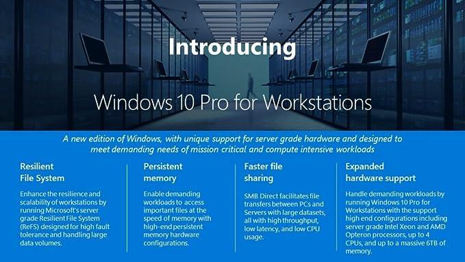 Amazon com: Microsoft Windows 10 Pro 64-bit for Workstations OEM License