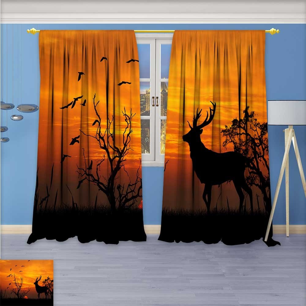 SCOCICI1588 Design Print Rod Pocket top Thermal Insulated Animals on the prairie Linen Room Darkening Curtains W104'' x L108'' Pair