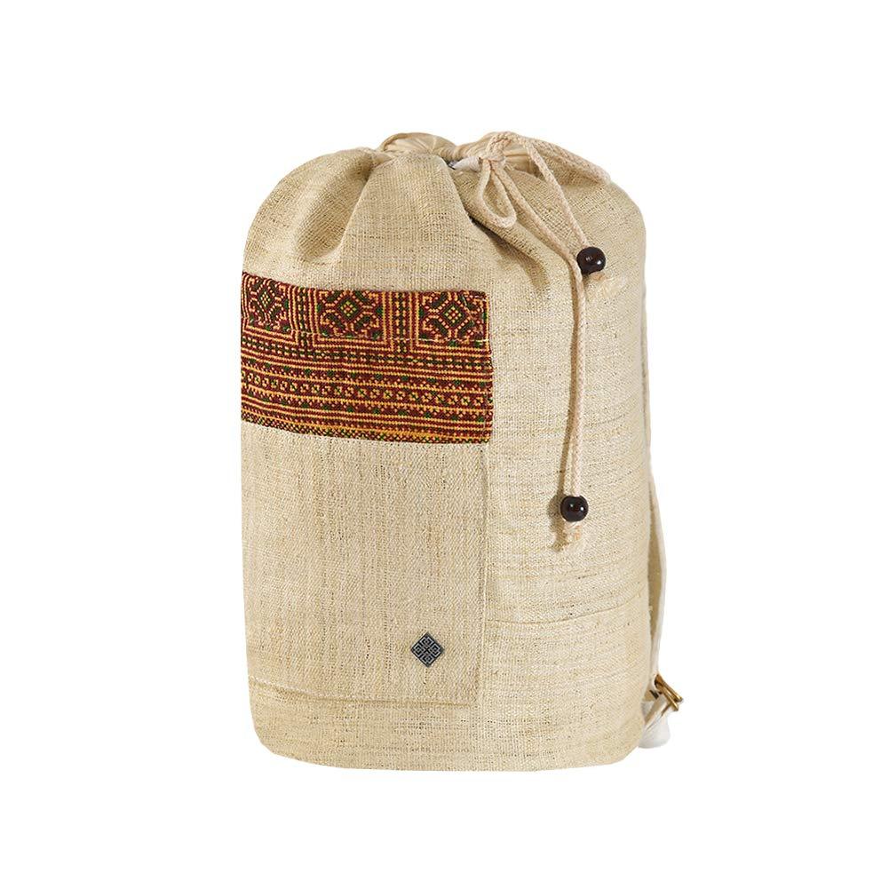 virblatt 100% hemp shoulder bag hand-woven hill tribe patterns–Freiheit beige