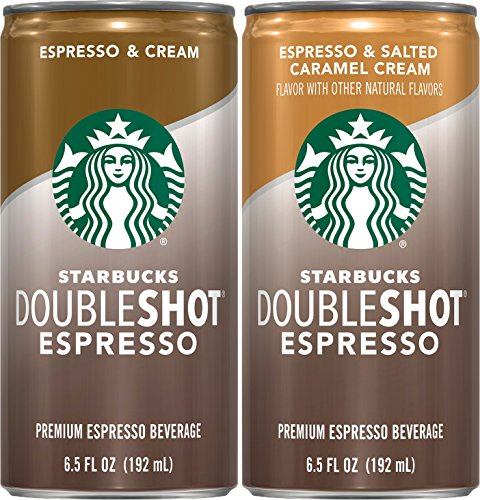 Starbucks Doubleshot Espresso Beverage, Espresso & Cream and Espresso & Salted Caramel Cream Variety Pack, 12 Count, 6.5 oz Cans
