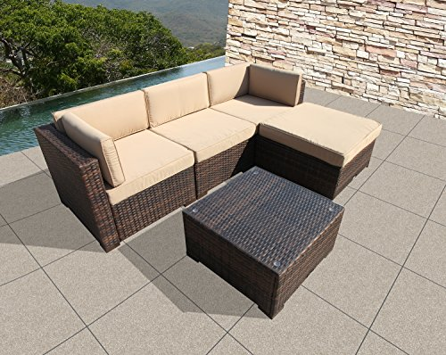 Super Patio Outdoor Furniture Sectional Set, All Weather PE Brown Wicker Set Sofas with Glass Coffee Table and Ottoman, Steel Frame, Beige (Set Wicker Sofa)
