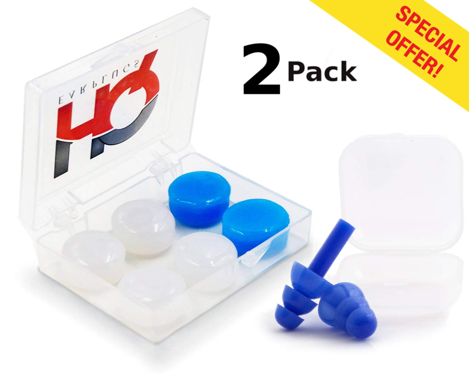 HQ Earplugs Set | Hearing Protection & Waterproff, Swimming, Sleep, Snoring, Travel, Concert, Shooting |4 Pair| Moldable ear plugs, 1 Size Fits All, Kids & Adults. Noise Reduction 25/29 db - Reusable