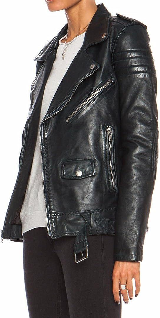 Koza Leathers Womens Lambskin Leather Biker Jacket KN0049